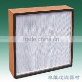 wooden frame deep pleate HEPA Air Filters with high dust holding capacity