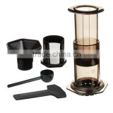 Portable Stainless steel + glass French press coffee machine shell car/wild outdoor coffee coffee maker+filter