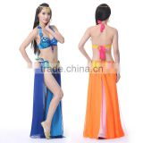 Sexy Size Adjusted Gradient Lace-up Bra Belt Slit Long Skrts Belly Dance Performance Costumes Suit