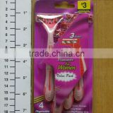 4PC LADIES TRIPLE BLADE RAZORS/ LADY 3 BLADES RAZOR/SHAVING REMOVAL/HAIR TRIMMER/THREE BLADE SHAVING RAZOR