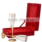 Gold Silver plated champagne flutes set of 2 piece with gift box, wine goblet, Bar supplies & accessories
