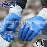 NMSAFETY safety gloves anti oil nylon HPPE liner full coated blue nitrile gloves anti cut