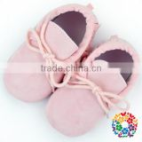 Cute Pink Color Soft Sole Rubber Baby Girl Shoes Newborn Crib Shoes With Lace Wholesale Leather Baby Shoes