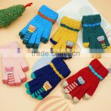 TC13026 New design funny animal pattern winter warm kids gloves high quality knitted kids gloves with finger