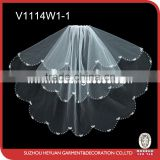 V1114W1-1 pearls-edged with bowknot shoulder length wedding veil/first communion veil