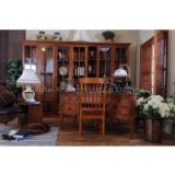 Free Combination Bookcase / American Country Style Study Room Furniture / Solid Wood Furniture Factory / Glass Door