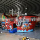 Old nostalgic brown color hot sale inflatable pirate ship boat water slide