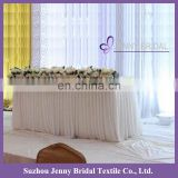 TS010F white different pleated chiffon wedding table skirting designs