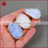 Natural color AAA top quality agate druzy oval quartz pendants jewelry-white, grey, brown