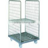 Warehouse Mobile Roll Container cage with plastic base chassis tray F-1 (4sides)