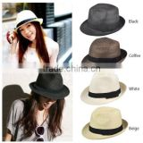 Black Classic Fashion Sun Rollable Straw Fedora Trilby Mens Womens Unisex H153