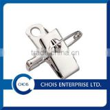 1-Hole Smooth-Face Steel Shank with Jaw and Safety Pin Combination, Badge Clip & Pin