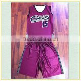 New claret-red Customized full sublimated polyester basketball wear sports training wear jersey kids and adult