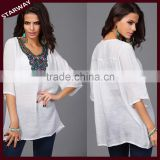 Women's PLUS SIZE Latest fashion blouse design embroidery designs ladies tops/