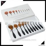 Oval cosmetic tooth brush makeup brush set