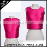 Factory supply rose color sleeveless zipper pattern woman crop top for ladies
