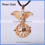 Fashion Jewelry Accessories Hollow Round Copper Angel Wings Harmony Pregnancy Necklace Pendant Charms BAC-M002