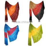 Exquisite Ethnic Indian Cobalt Blue Red Yellow Tie & Dye Bandhani Chiffon Cotton Stole for Women & Girls