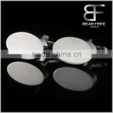 Stainless steel Mens smooth plain Oval cufflinks for gentleman Wedding Bussiness                                                                         Quality Choice