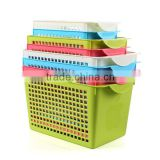 small cheap high quality plastic storage basket with handle/rattan basket/bathroom storage basket