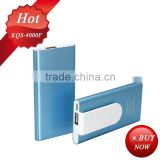 power bank battery 4000mah 5V/1A metal power bank with clips