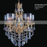 Gold Antique European Crystal Chandelier Glass Arm Candle Chandelier for Building Decoration