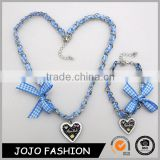 Wholesale blue fabric stainless steel chains bowknot design heart pendant necklace set for Oktoberfest                                                                                                         Supplier's Choice