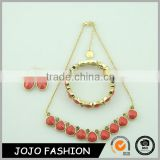 Fashion gold plated alloy resin rhinestone red bridal women jewelry sets                                                                                                         Supplier's Choice