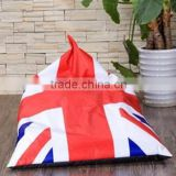 2016 Year New Triangle Big Pillow Bean Bag with UK flag for indoor outdoor use
