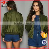 New custom ladies satin bomber jackets wholesale olive satin jacket manufacturer                                                                                                         Supplier's Choice
