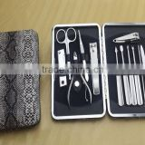 12pcs snake nail care manicure kit/pattern bag pedicure set/nail beauty sharper kit at high quality