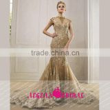 HT7 New Style Elegnat High Neck Cap Sleeve Dress For Prom Applique Floor Length Backless Beaded Lace Mermiad Vestido Longo Festa