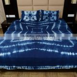 Indigo Tie Dye Bedding Set Cotton Hand Dyed Shibori Bedspread Indian Queen Bed Cover With Two Pillows
