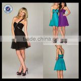 C0036 Chiffon cocktail dress for fat women one shoulder beach short sexy cocktail dress patterns