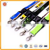 Black cheap customized polyester logo lanyard with breakaway buckle and safe neck lanyard