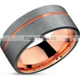 Mens Wedding Band Two Tone Tungsten Ring 8mm Brushed Matte Rose Gold Inside Flat Edge Comfort Fit