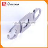 Wholesale high quality Stainless steel silver double blade cigar cutter with metal handle