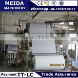 Small Plant of waste paper to toilet paper machines model 1092mm width paper capacity 2-3tons per day