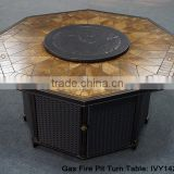 Outdoor China garden ceremic top gas fire pit with aluminum frame heater dining table with the turn plate (in Foshan)