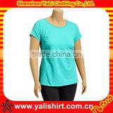 OEM popular simple solid color blank cotton slim fit lady round neck short sleeves wholesale blank t shirts athletic fit t shirt