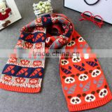KS00292C Newest children's panda pattern design keep warm double knitted cotton scarf