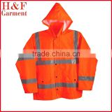 Safety ANSI Class 3 Polyester Rain Jacket with Silver Reflective