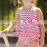 kids clothing wholesale Boutique White n Red Chevron Ruffle Swimsuit toddler girl cotton clothes set beach wear tank top&bloomer