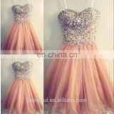 Coral Color Short Bridesmaid Dress 2016 Crystal Beads on Top Peach Cheap Wedding Party gowns vestidos de festa