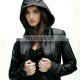 Women's Leather Motorcycle Jacket A classic leather biker jacket goes uptown