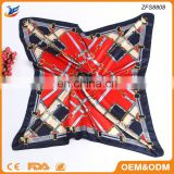 Chain Style Square Bandana Satin Printed Scarf for Muslim Women