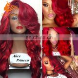 Alice Princess Red Human Hair Lace Wig Human Hair Virgin Brazilian Hair With Bangs Bug Body Wave Full Lace Wig Sew In