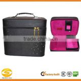Black leather cosmetic box with mirror makeup carry case