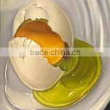 Big burst of duck eggs out light green protein and glittering and translucent transparent round egg yolk oil painting in canvas