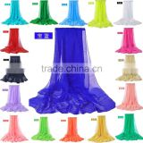 20 Colors In Stock Fashion Women Summer Spring Soft Cool Solid Pashmina Scarf Chiffon Shawl                                                                         Quality Choice